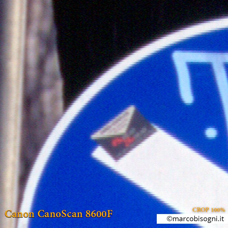 Canon CanoScan 8600F. Test risoluzione: Canon Vs. Plustek. Crop 100%