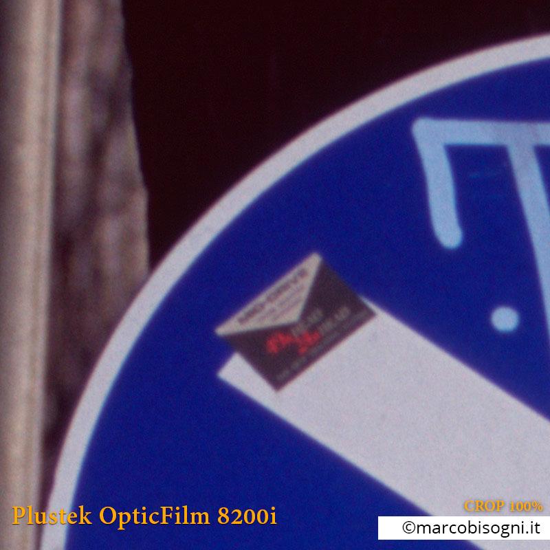 Plustek OpticFilm 8200i. Test risoluzione: Canon Vs. Plustek. Crop 100%