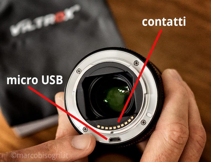 Viltrox 33 mm f/1.4 - micro usb, contatti
