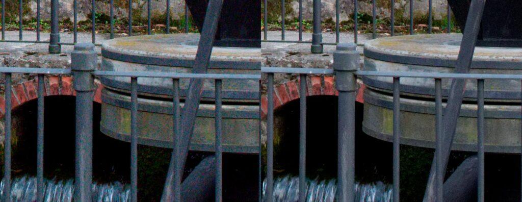 1600 ISO prima (a sinistra) e dopo (a destra) la riduzione dle rumore - Cliccare per ingrandire