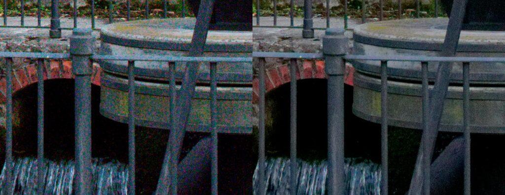 6400 ISO prima (a sinistra) e dopo (a destra) la riduzione dle rumore - Cliccare per ingrandire